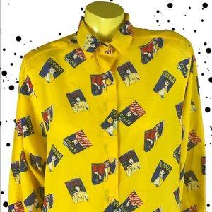 •💛📘 80s Magazine Print Yellow Blouse 📘💛•